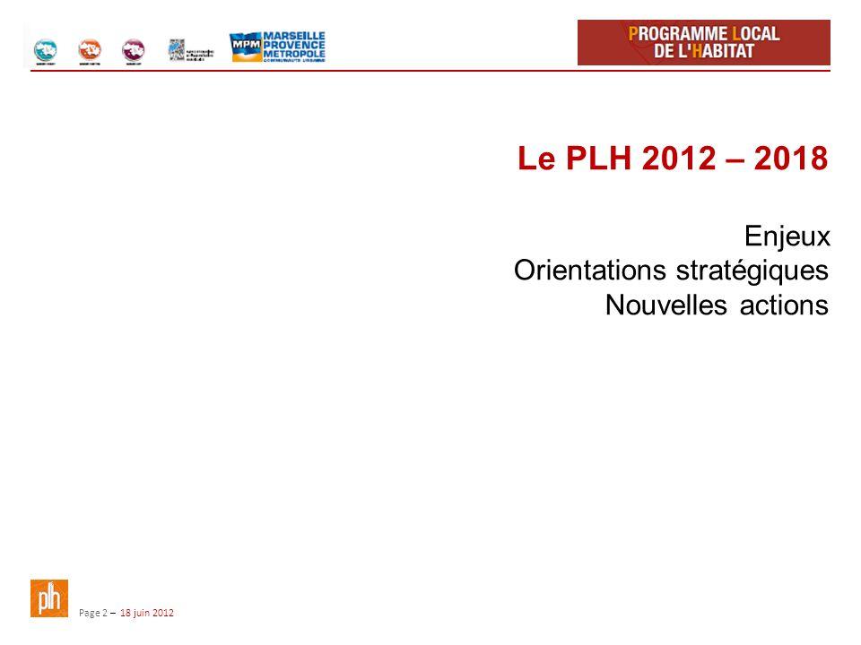 Le PLH 2012 – 2018 Enjeux Orientations stratégiques Nouvelles actions