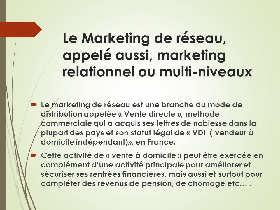 Le Marketing de réseau, appelé aussi, marketing relationnel ou multi-niveaux