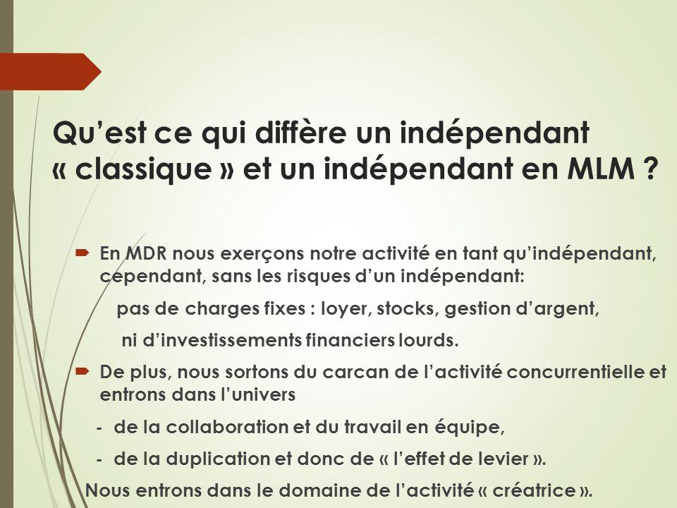 Qu'est ce qui diffère un indépendant « classique » et un indépendant en MLM