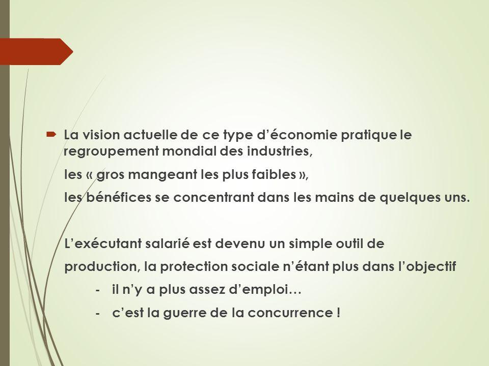 La vision actuelle de ce type d'économie pratique le regroupement mondial des industries,