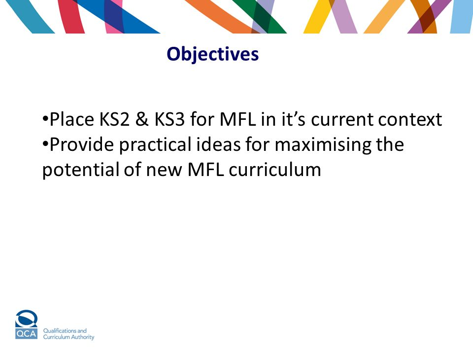 Objectives Place KS2 & KS3 for MFL in it's current context.
