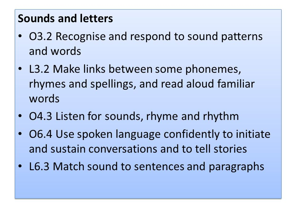 Sounds and letters O3.2 Recognise and respond to sound patterns and words.