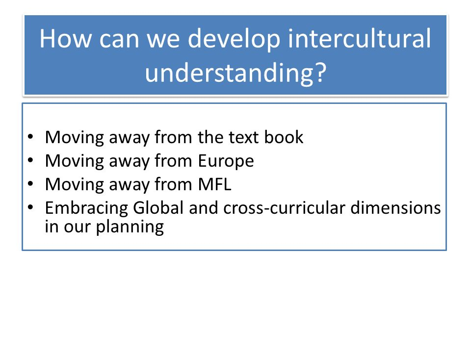 How can we develop intercultural understanding