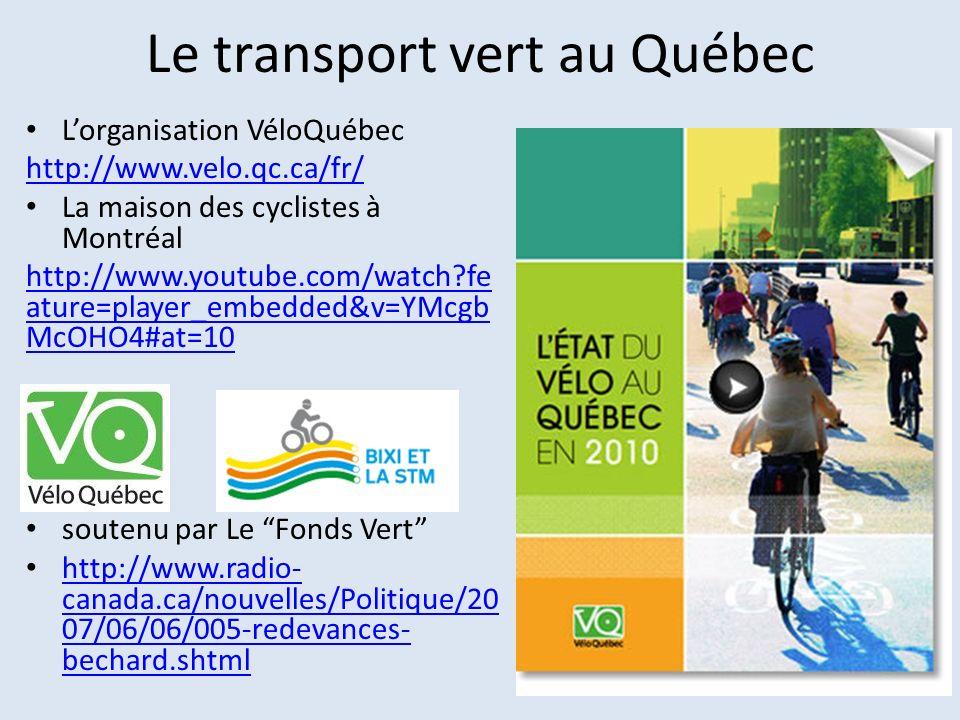 Le transport vert au Québec