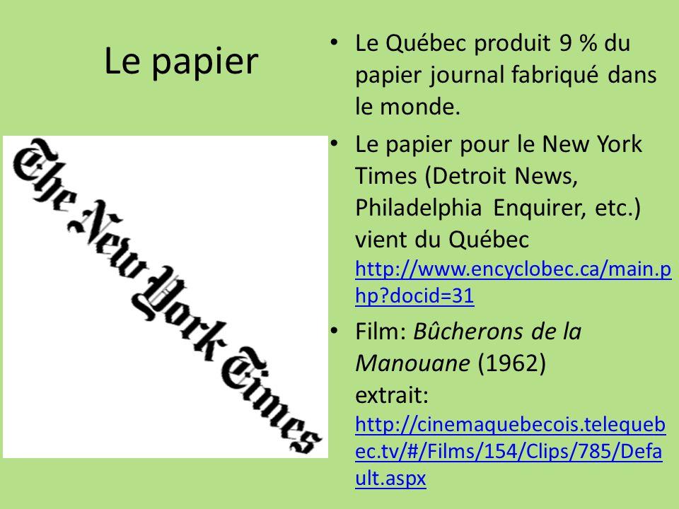 Le papier Le Québec produit 9 % du papier journal fabriqué dans le monde.