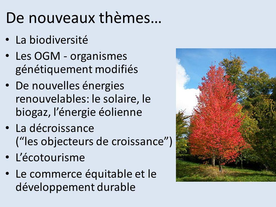 De nouveaux thèmes… La biodiversité