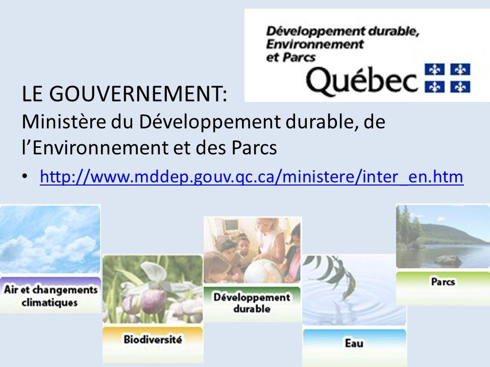 LE GOUVERNEMENT: Ministère du Développement durable, de l'Environnement et des Parcs