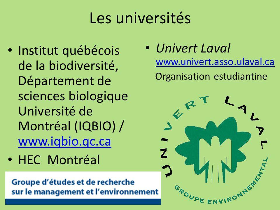 Les universités Univert Laval www.univert.asso.ulaval.ca