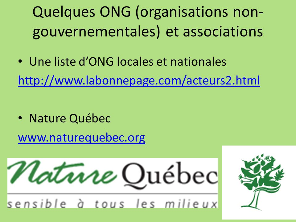 Quelques ONG (organisations non-gouvernementales) et associations