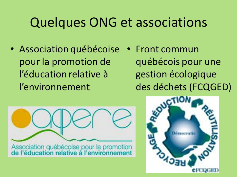 Quelques ONG et associations