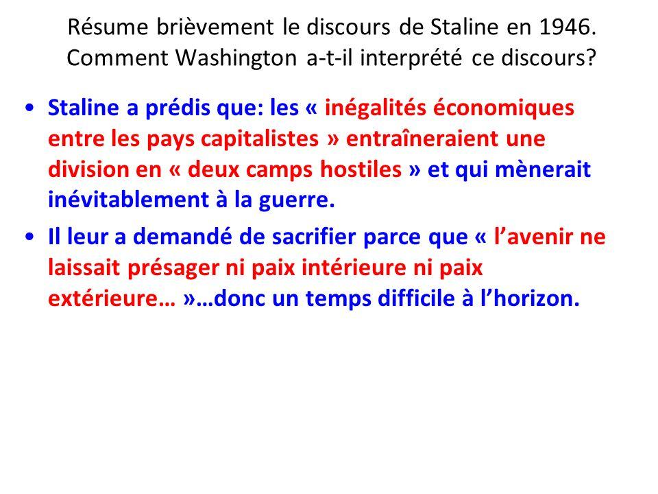 Résume brièvement le discours de Staline en 1946