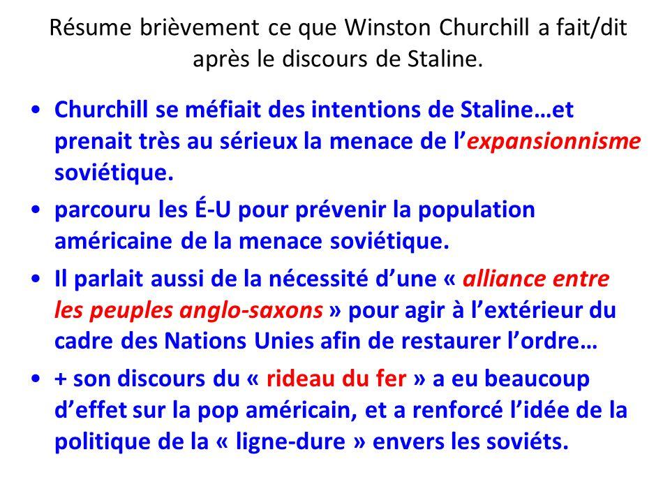 Résume brièvement ce que Winston Churchill a fait/dit après le discours de Staline.