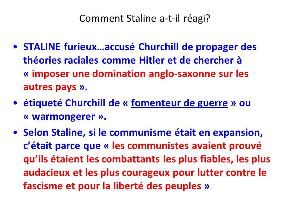 Comment Staline a-t-il réagi