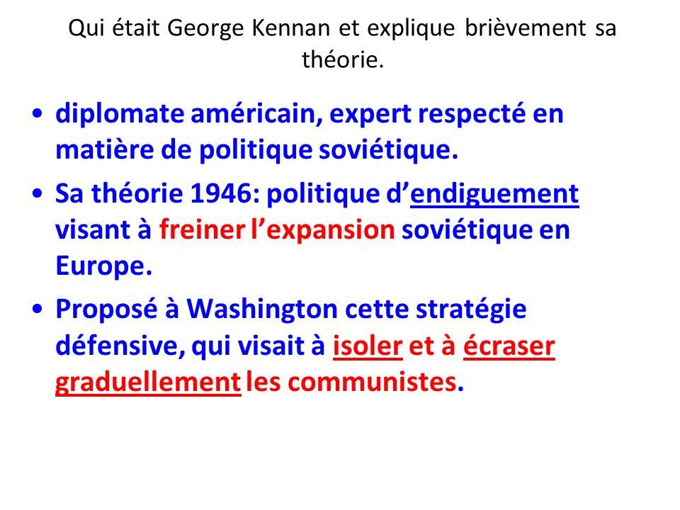 Qui était George Kennan et explique brièvement sa théorie.