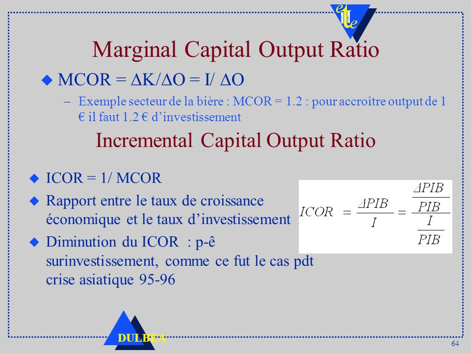 Marginal Capital Output Ratio