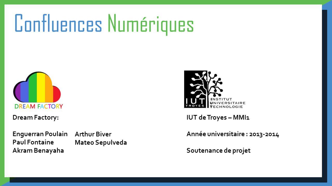 Dream Factory: Enguerran Poulain. Paul Fontaine. Akram Benayaha. IUT de Troyes – MMI1. Année universitaire : 2013-2014.