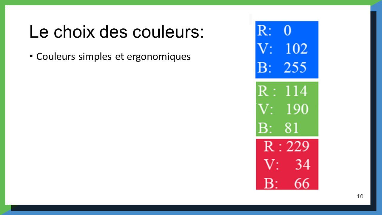 Le choix des couleurs: Couleurs simples et ergonomiques