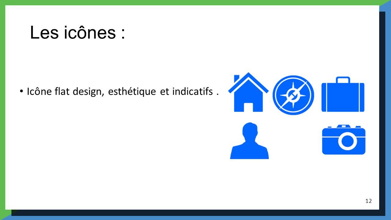Les icônes : Icône flat design, esthétique et indicatifs .