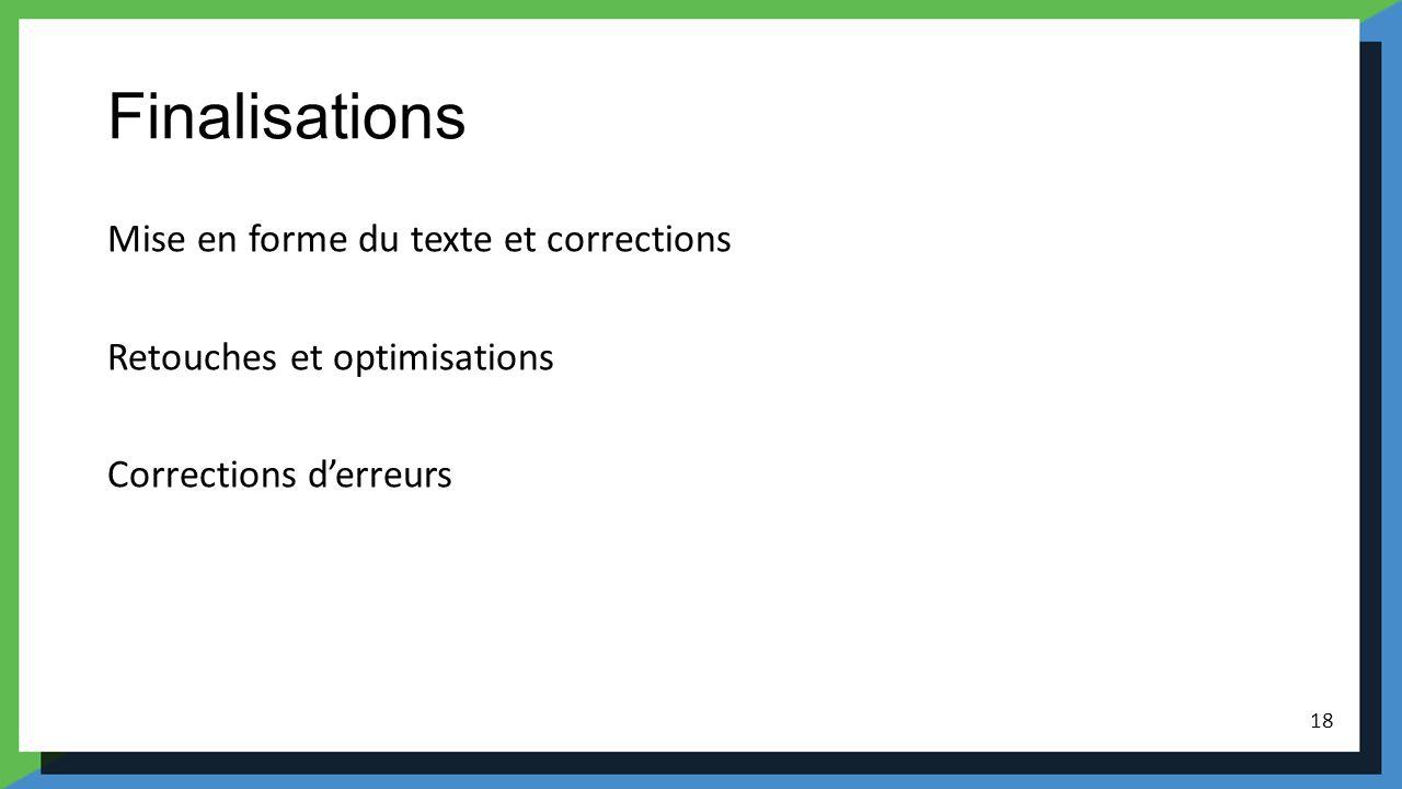 Finalisations Mise en forme du texte et corrections Retouches et optimisations Corrections d'erreurs