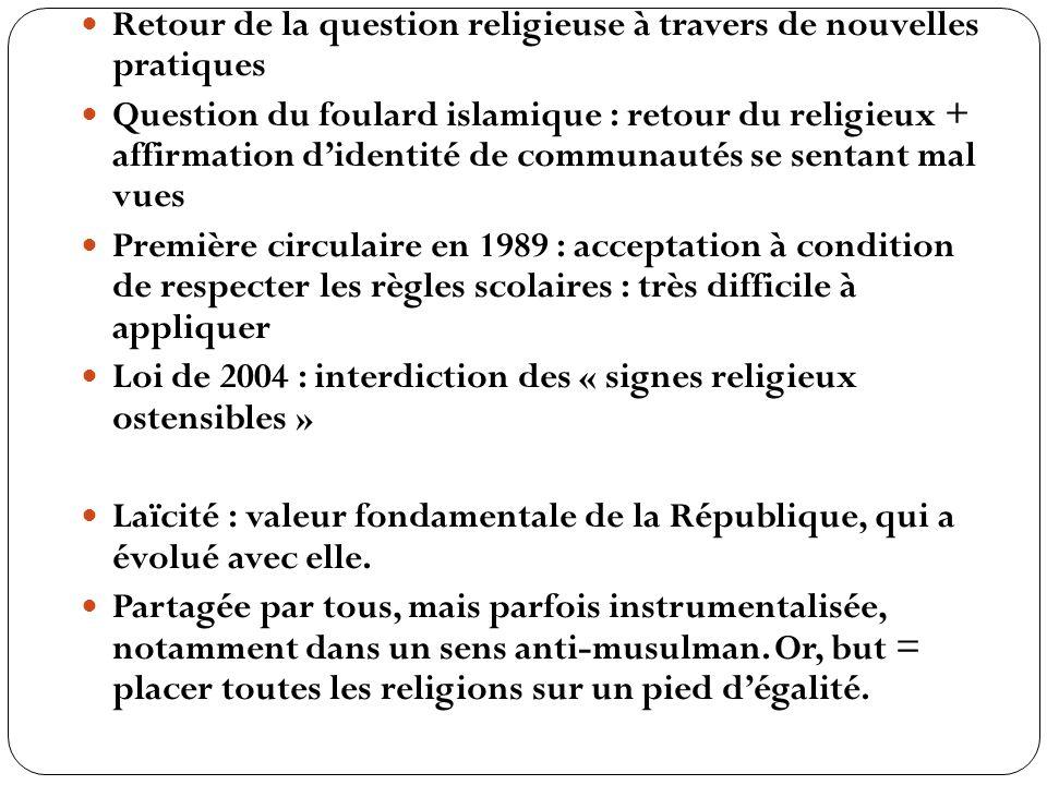Retour de la question religieuse à travers de nouvelles pratiques