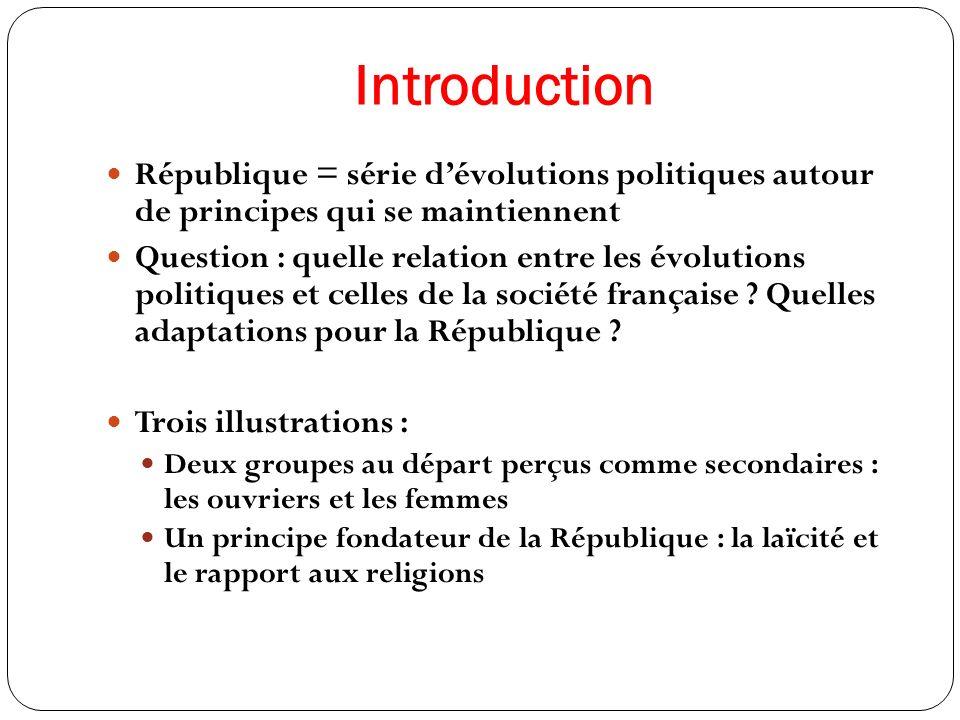 Introduction République = série d'évolutions politiques autour de principes qui se maintiennent.