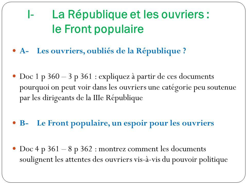 I- La République et les ouvriers : le Front populaire