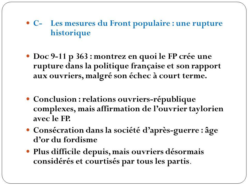 C- Les mesures du Front populaire : une rupture historique