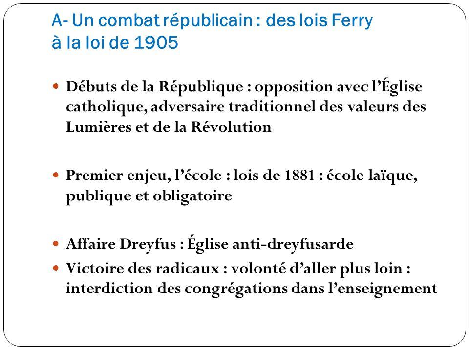 A- Un combat républicain : des lois Ferry à la loi de 1905