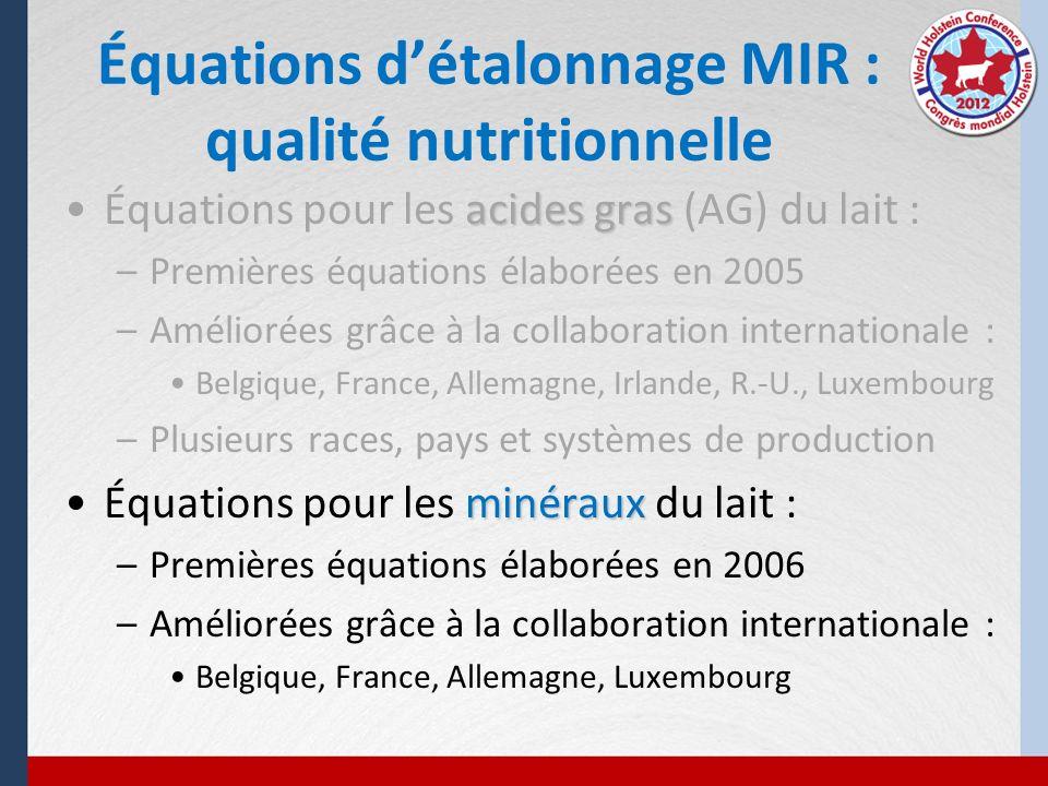 Équations d'étalonnage MIR : qualité nutritionnelle