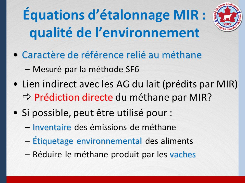 Équations d'étalonnage MIR : qualité de l'environnement