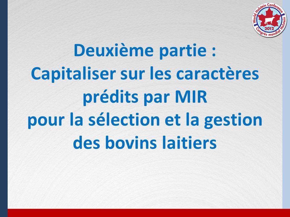 Deuxième partie : Capitaliser sur les caractères prédits par MIR pour la sélection et la gestion des bovins laitiers