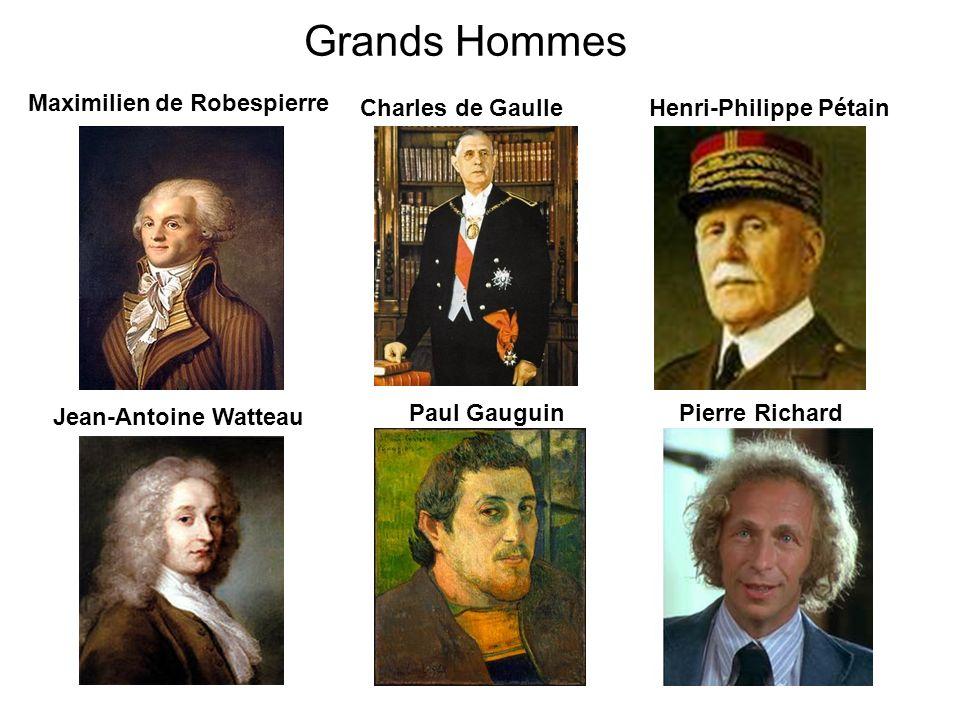 Grands Hommes Charles de Gaulle Jean-Antoine Watteau Paul Gauguin