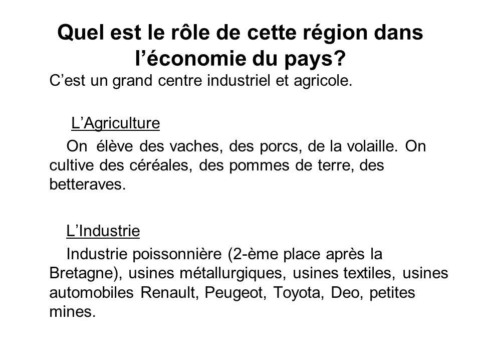 Quel est le rôle de cette région dans l'économie du pays