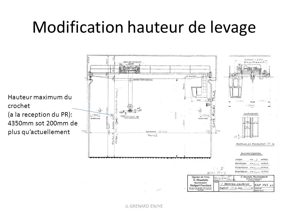 Modification hauteur de levage