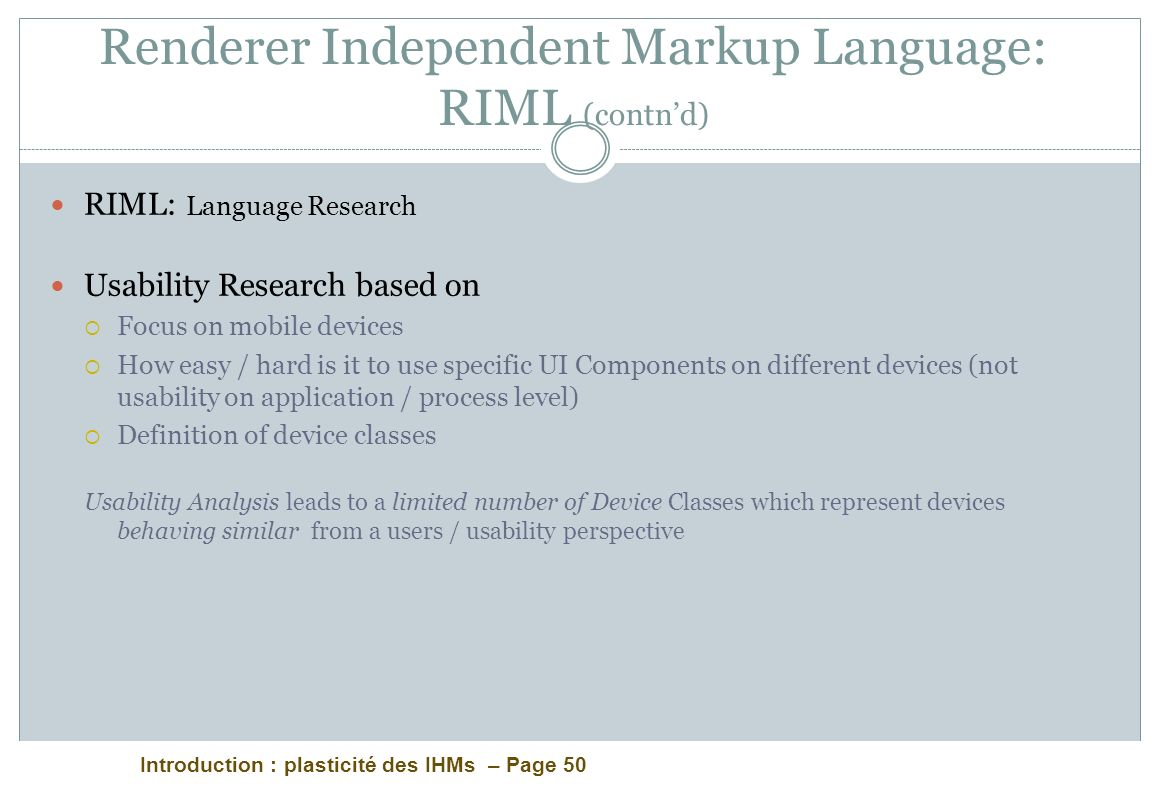 Renderer Independent Markup Language: RIML (contn'd)