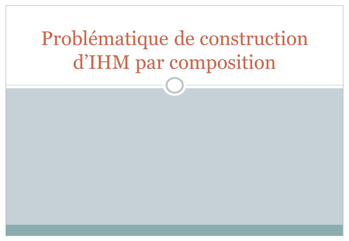 Problématique de construction d'IHM par composition