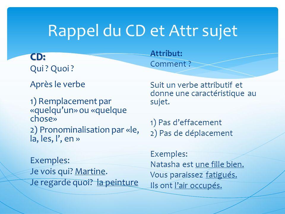 Rappel du CD et Attr sujet
