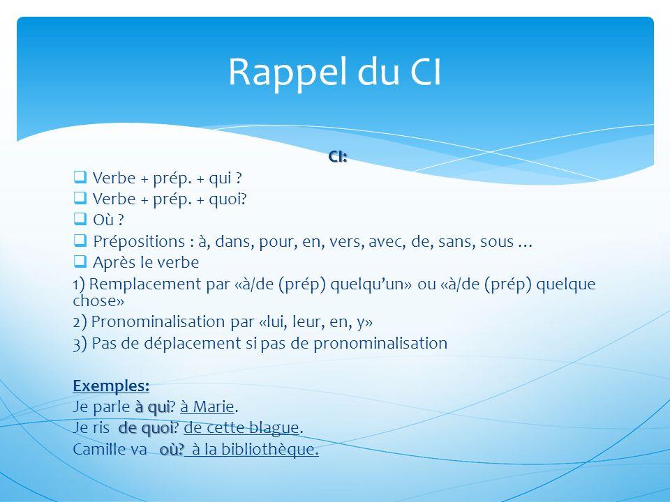 Rappel du CI CI: Verbe + prép. + qui Verbe + prép. + quoi Où