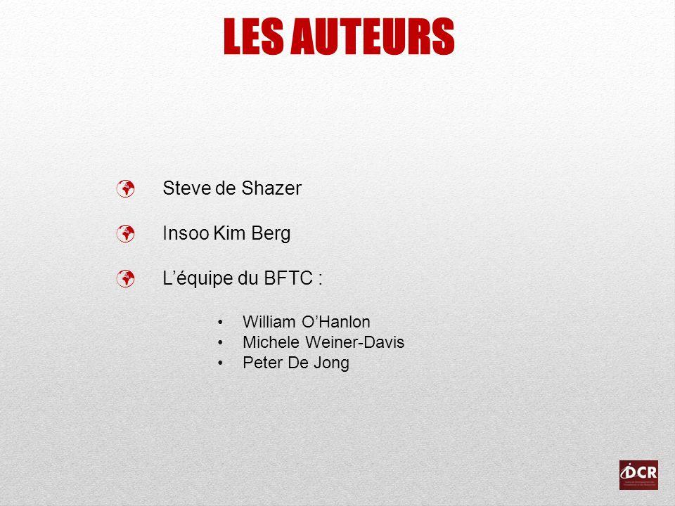 LES AUTEURS Steve de Shazer Insoo Kim Berg L'équipe du BFTC :