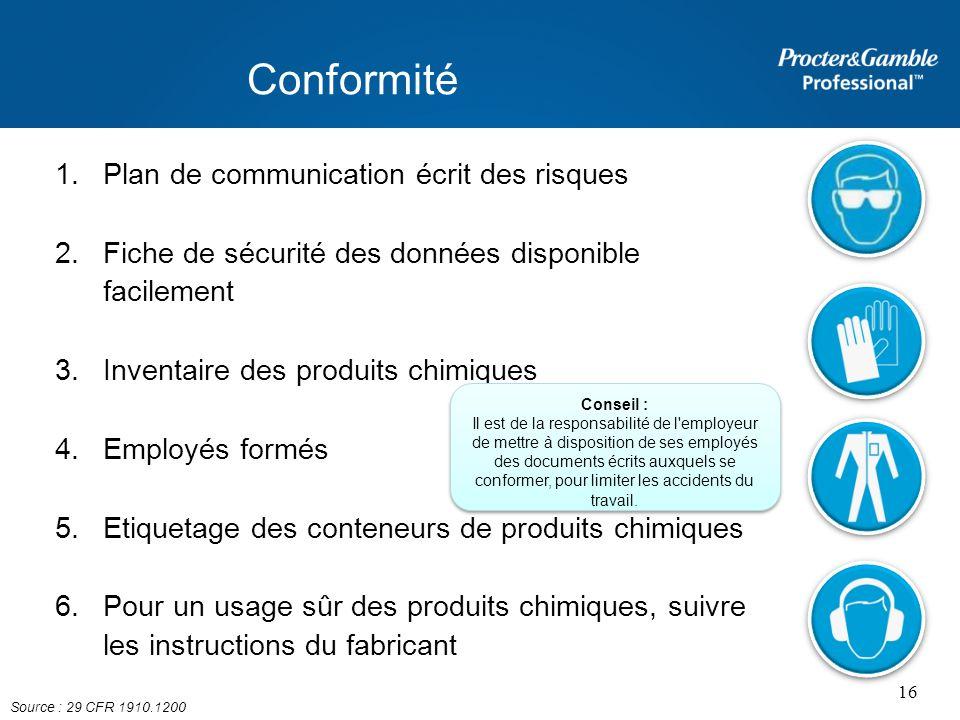 Conformité Plan de communication écrit des risques
