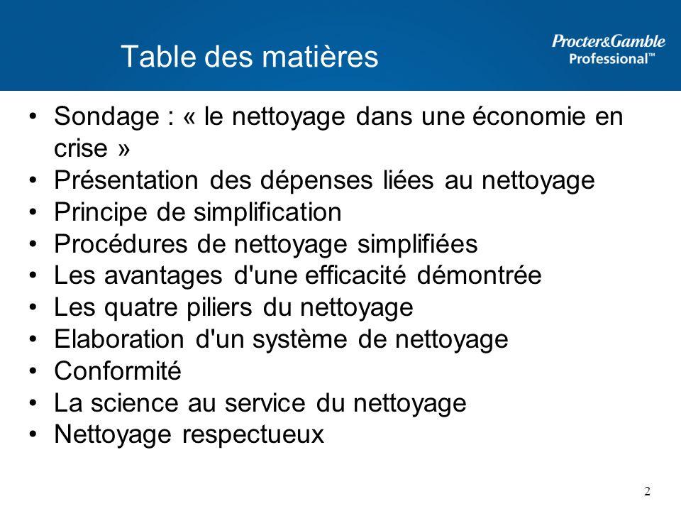 Table des matières Sondage : « le nettoyage dans une économie en crise » Présentation des dépenses liées au nettoyage.