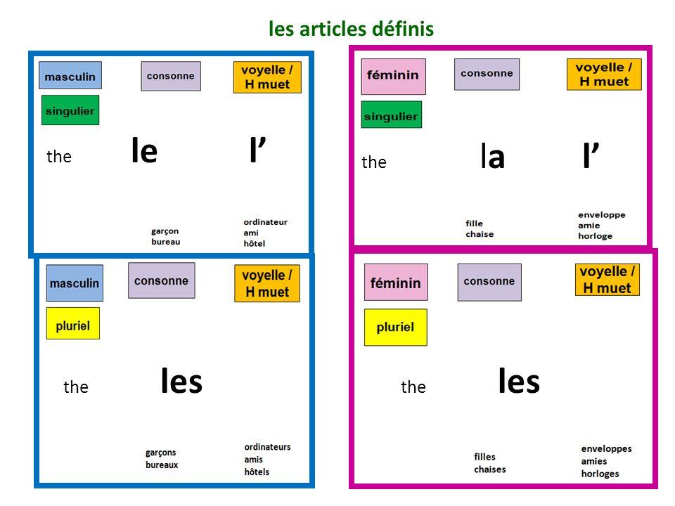 les articles définis the le l' the la l' the les.