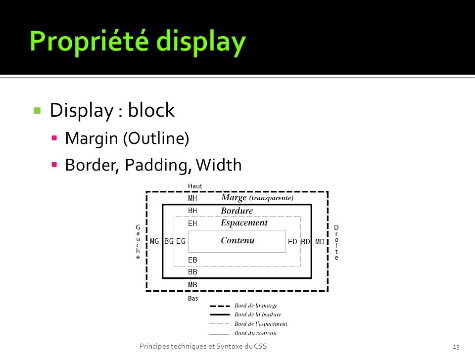Propriété display Display : block Margin (Outline)
