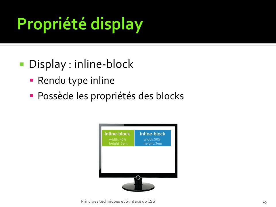 Propriété display Display : inline-block Rendu type inline