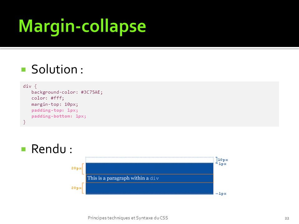 Margin-collapse Solution : Rendu : div { background-color: #3C75AE;