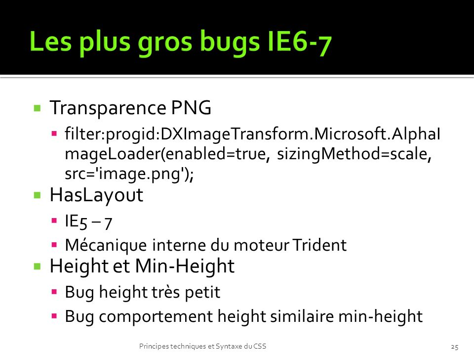 Les plus gros bugs IE6-7 Transparence PNG HasLayout