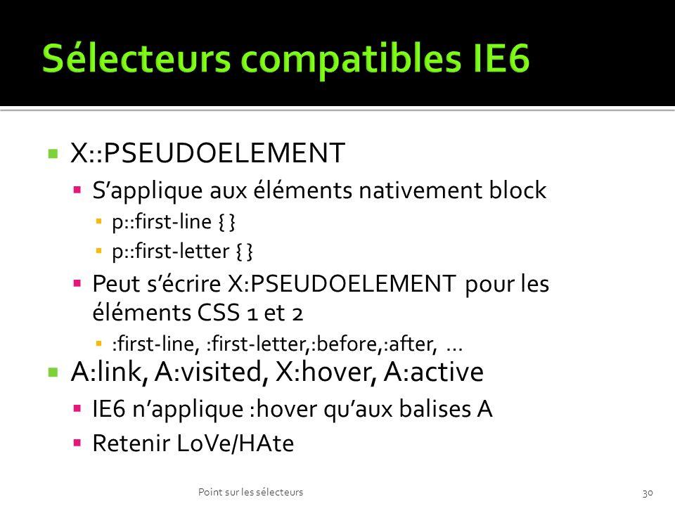 Sélecteurs compatibles IE6