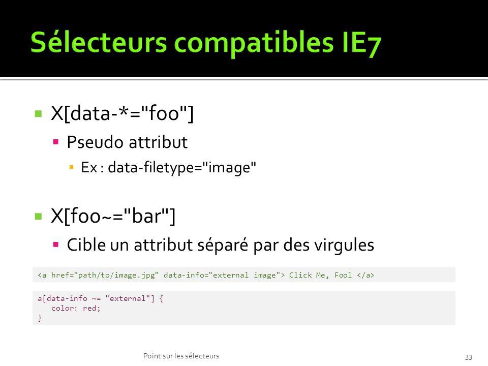 Sélecteurs compatibles IE7