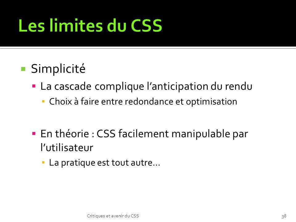 Les limites du CSS Simplicité