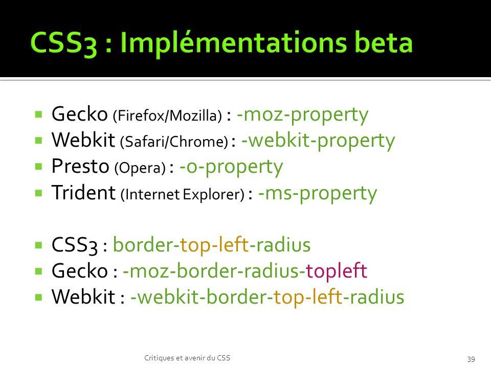 CSS3 : Implémentations beta